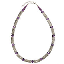 Buy John Lewis Crystal Bead Necklace, Silver/Purple Online at johnlewis.com