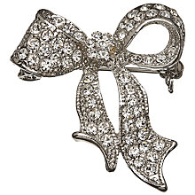Buy John Lewis Glass Stone Miniature Bow Brooch, Silver Online at johnlewis.com