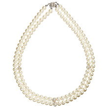 Buy John Lewis Double Row Pave Pearl Necklace, White Online at johnlewis.com