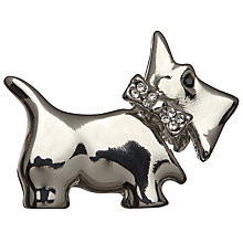 Buy John Lewis Glass Crystal Mini Scottie Brooch, Silver Online at johnlewis.com