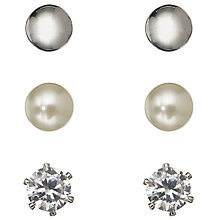 Buy John Lewis Triple Set Faux Pearl, Silver, Cubic Zirconia Stud Earrings, Multi Online at johnlewis.com