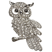 Buy John Lewis Glass Crystal Owl Brooch, Silver Online at johnlewis.com