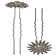 Buy John Lewis 2 Large Star Crystal Flower Hair Pins, Silver Online at johnlewis.com