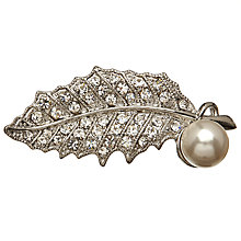 Buy John Lewis Plated Faux Pearl Leaf Brooch, Silver Online at johnlewis.com