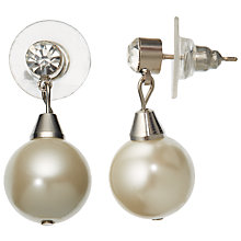 Buy John Lewis Faux Pearl And Cubic Zirconia Drop Stud Earrings, Perarl Online at johnlewis.com