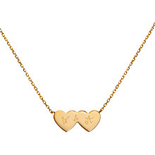 Buy Merci Maman Personalised Double Heart Necklace Online at johnlewis.com