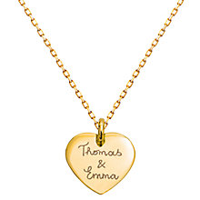 Buy Merci Maman Gold Plated Personalised Heart Pendant Necklace, Gold Online at johnlewis.com