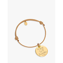 Buy Merci Maman Gold Plated Personalised Disc Bracelet Online at johnlewis.com