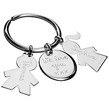 Buy Merci Maman Sterling Silver Personalised Family Keyring, Silver Online at johnlewis.com
