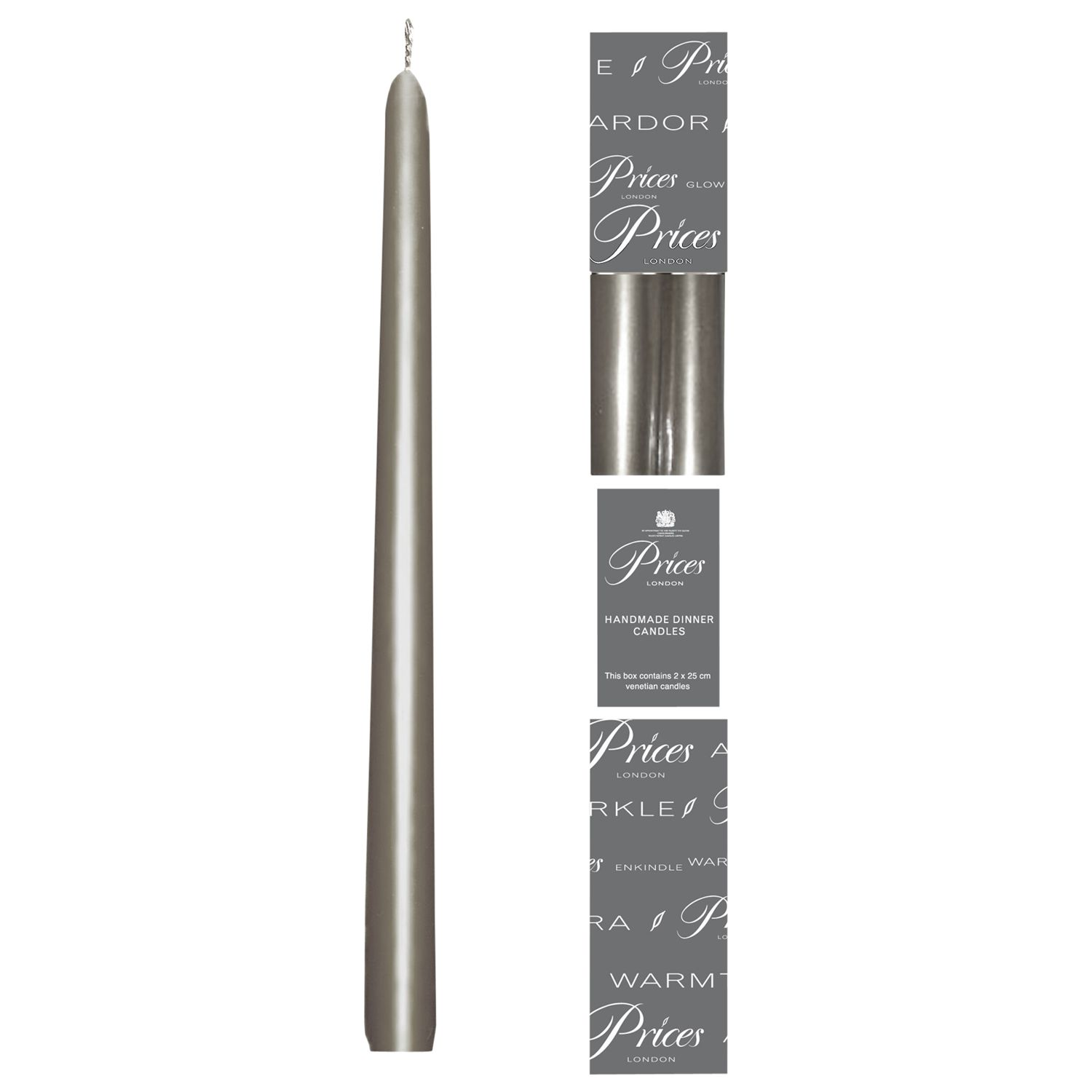 Price's Price's Dinner Candles, Pack of 2, Silver