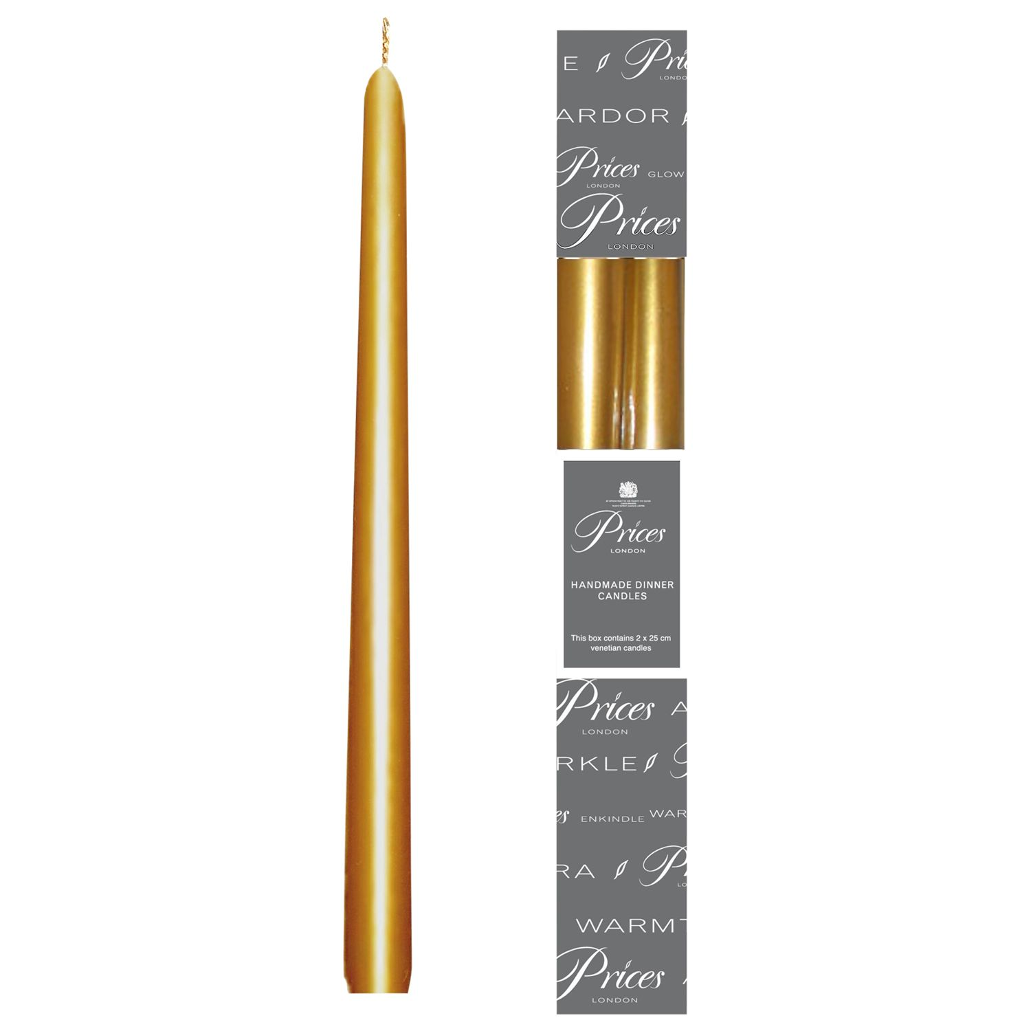 Price's Price's Dinner Candles, Pack of 2, Gold