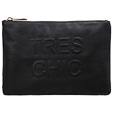 Buy Miss Selfridge Tres Chic Clutch Bag, Black Online at johnlewis.com