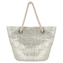 Buy Oasis Stoupa Straw Shopper Bag, Silver Online at johnlewis.com