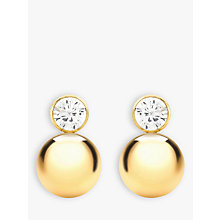 Buy IBB 9ct Yellow Gold Cubic Zirconia Ball Stud Earrings, Gold Online at johnlewis.com