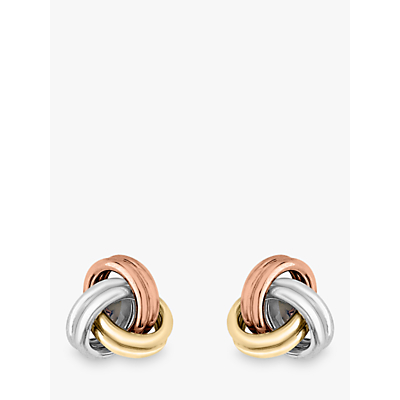 IBB 9ct 3 Colour Gold Knot Stud Earrings, Yellow Gold/Multi