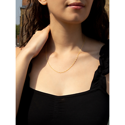 IBB 18ct Yellow Gold Twist Curb Chain Necklace, Yellow Gold