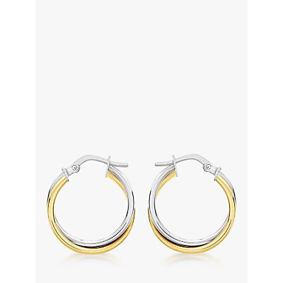 IBB 18ct Gold Two Colour Double Tube Creole Earrings, Gold/White Gold