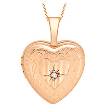 Buy IBB 9ct Gold Diamond Set Etched Heart Locket Pendant Online at johnlewis.com