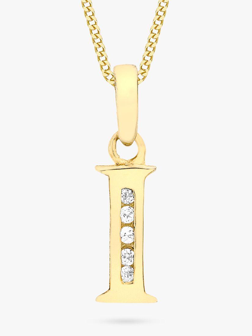 IBB IBB 9ct Gold Cubic Zirconia Initial Pendant Necklace