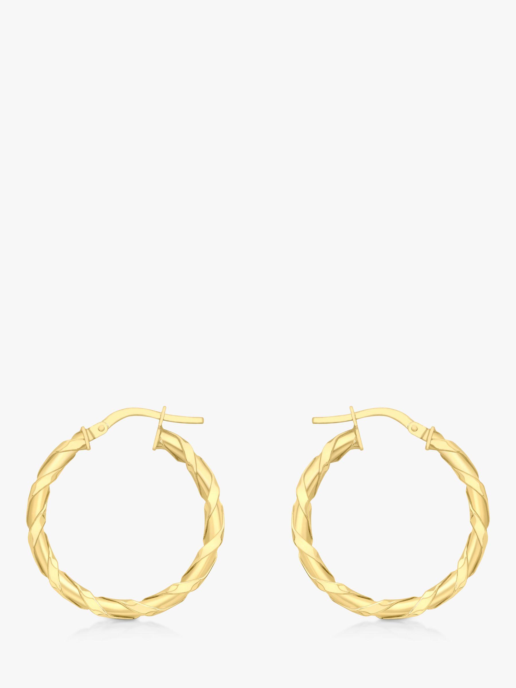 IBB IBB 9ct Gold Twist Creole Earrings, Gold