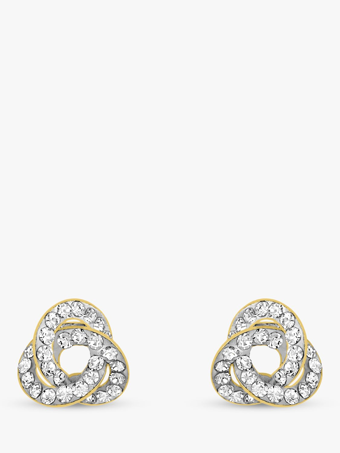 IBB IBB 9ct Yellow Gold Crystalique Knot Stud Earrings, Gold