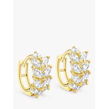 Buy IBB 9ct Yellow Gold Leaf Cluster Huggy Hoop Earrings, Gold Online at johnlewis.com