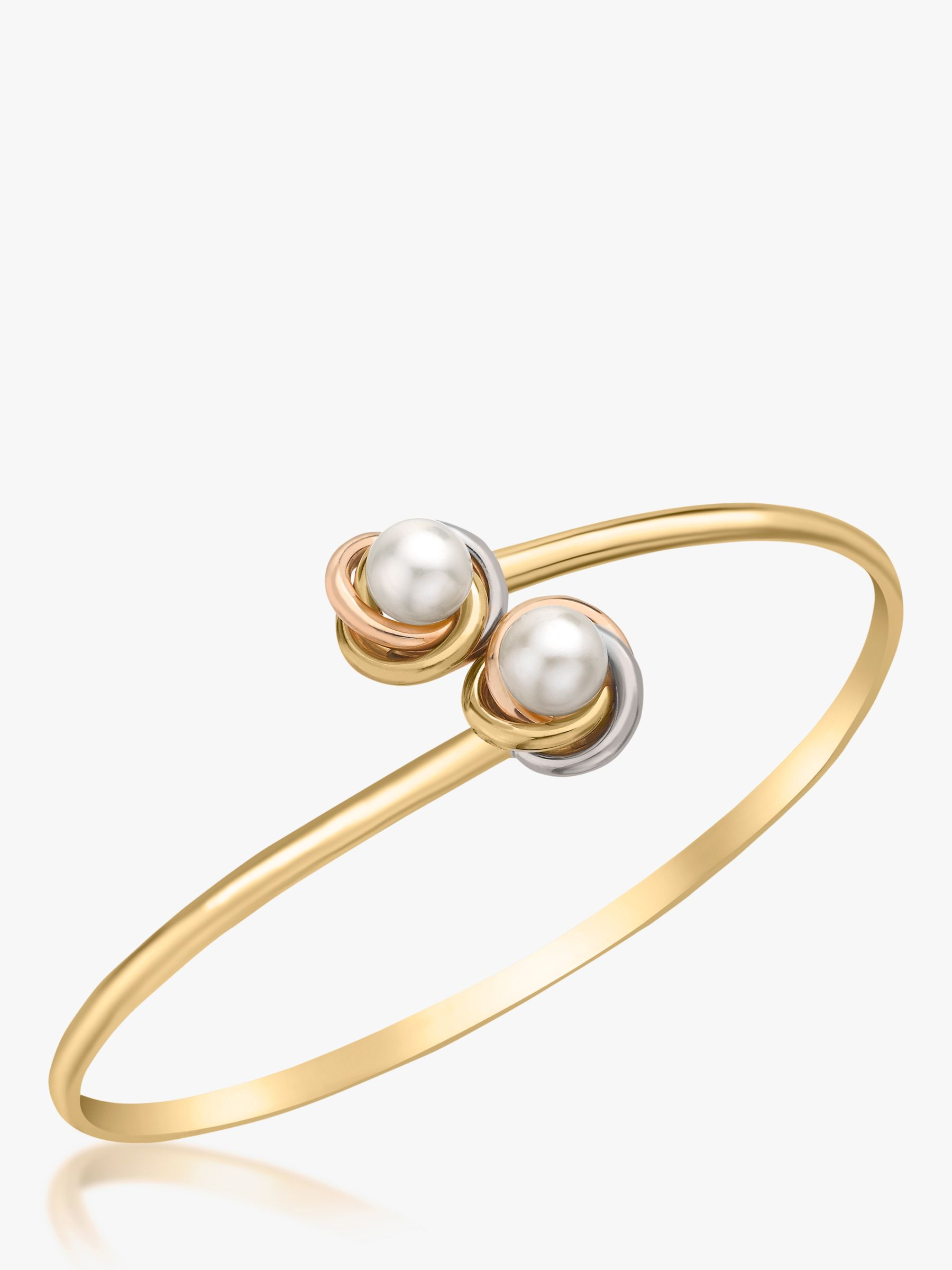 IBB IBB 9ct Three Colour Gold Double Knot and Pearl Flexible Torque Bangle, Multi