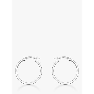 IBB 18ct White Gold Rectangular Tube Creole Earrings, White Gold