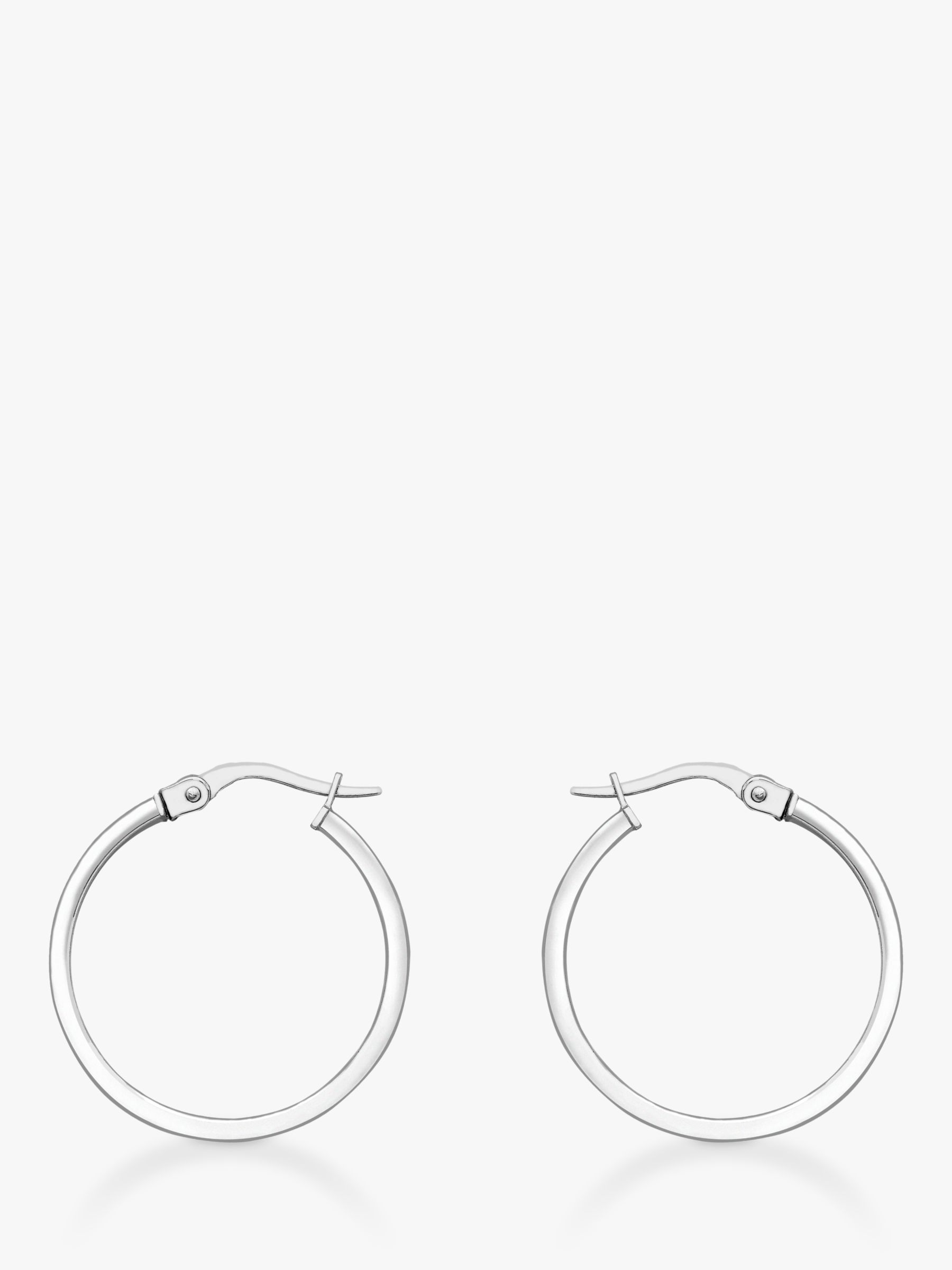 IBB IBB 18ct White Gold Rectangular Tube Creole Earrings, White Gold
