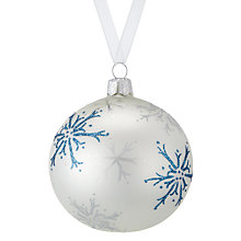 Buy John Lewis Snowdrift Glass Pearl Snowflake Bauble, Multi Online at johnlewis.com