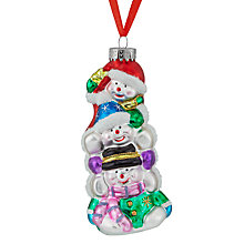 Buy John Lewis Glass Three Stacked Snowmen Bauble, Multi Online at johnlewis.com