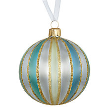Buy John Lewis Boutique Glass Stripe Bauble, Green, Pewter & Gold Online at johnlewis.com