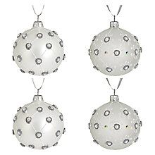 Buy John Lewis Swarovski Christmas Baubles, Box of 4, White Online at johnlewis.com