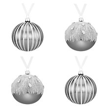 Buy John Lewis Glass Christmas Baubles, Box of 4, Silver Online at johnlewis.com