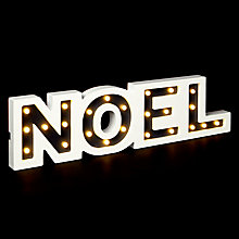 Buy John Lewis White Noel Battery Operated Sign, Warm White Online at johnlewis.com
