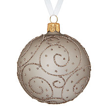 Buy John Lewis Enchantment Glass Bauble with Glitter Swirl, Taupe Online at johnlewis.com