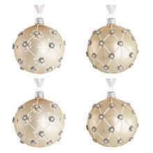 Buy John Lewis Swarovski Glass Christmas Baubles, Box of 4, Ivory Online at johnlewis.com