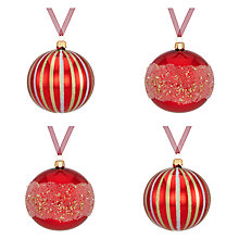 Buy John Lewis Glass Christmas Baubles, Box of 4, Red Online at johnlewis.com