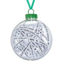 Buy John Lewis Different Perspectives Glass Tinsel In A Tangle Text Bauble Online at johnlewis.com