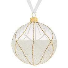 Buy John Lewis Boutique Glass Deco Lines Bauble, White and Champagne Online at johnlewis.com
