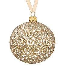 Buy John Lewis Boutique Glass Glitter Swirl Bauble, Gold Online at johnlewis.com