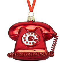 Buy John Lewis Glass Telephone Bauble, Red Online at johnlewis.com