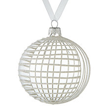 Buy John Lewis Snowdrift Glass Glitter Herringbone Bauble, White Online at johnlewis.com