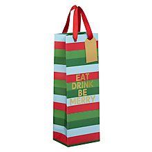 Buy John Lewis Different Perspective Eat Drink Be Merry Gift Bag, Champagne Online at johnlewis.com