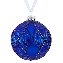 Buy John Lewis Boutique Glass Decorative Bauble, Blue Online at johnlewis.com