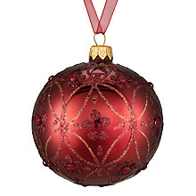 Buy John Lewis Midwinter Glass Classic Trellis Bauble, Burgundy Online at johnlewis.com