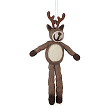 Buy John Lewis Felt Reindeer Tree Decoration, Brown Online at johnlewis.com