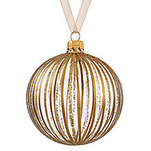 Buy John Lewis Boutique Glass Glitter & Metallic Stripe Bauble, Gold Online at johnlewis.com
