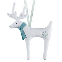Buy Cambric & Cream Linen Reindeer In Scarf Decoration Online at johnlewis.com