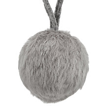 Buy John Lewis Snowdrift Fur Bauble, Grey Online at johnlewis.com